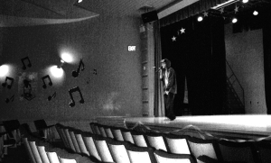 Charlie Burgess doing his sound check before a performance last year in Sarnia, Ontario